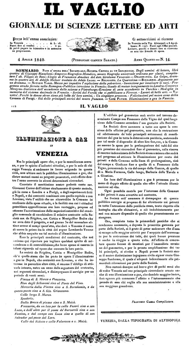 1840 IL VAGLIO, periodico di Venezia - Bonifica Gasometri Venezia