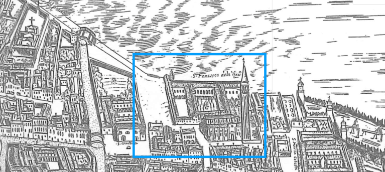 Campo San Francesco della Vigna nel 1696 - veduta di Giovanni Merlo - Bonifica Gasometri Venezia