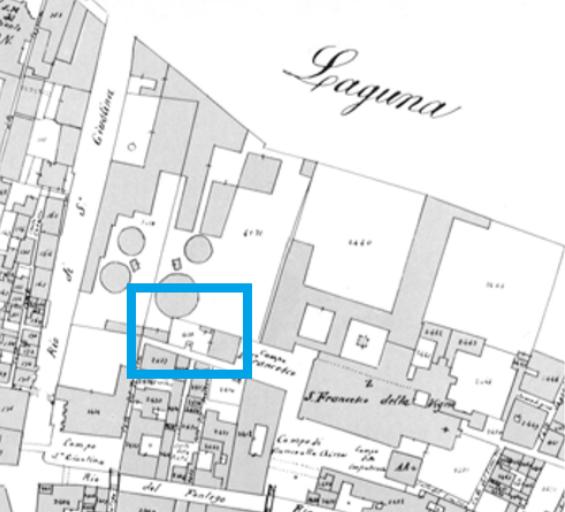 Catasto Austro Italiano - Campo San Francesco - Bonifica Gasometri Venezia - particolare