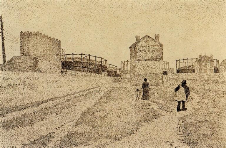 02 Paul Signac - Passage du Puits-Bertin, Clichy 1886 - fonte www.pubhist.com Gasometri