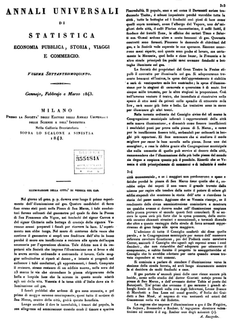 1843 gennaio ANNALI DI STATISTICA - Bonifica Gasometri Venezia