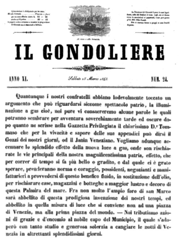 1843 IL GONDOLIERE inaugurazione illuminazione a gas venezia piazza san marco - Gasometri Venezia