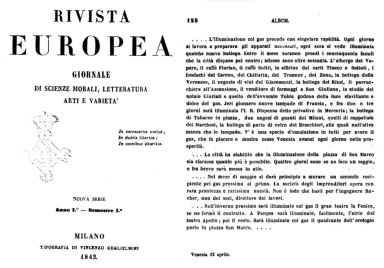 1843 RIVISTA EUROPEA illuminazione a gas di Venezia Caffè Florian Teatro La Fenice - Bonifica Gasometri Venezia