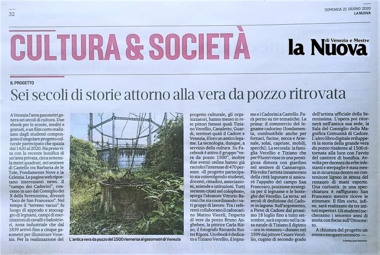 06 21 giugno 2020 La Nuova Venezia - Cultura & Società, vera da pozzo 1500