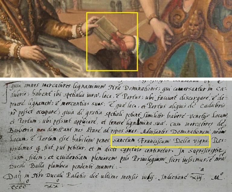 Dedizione del Cadore a Venezia - Particolare quadro Cesare Vecellio 1599 e Privilegio Ducale 1420 San Francesco della Vigna ai Cadorini