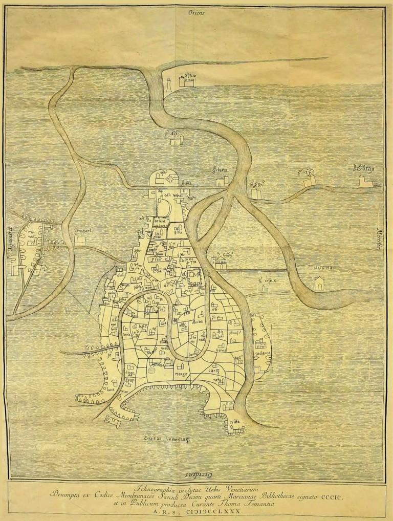 Mappa di Venezia antica XII secolo - Tommaso Temanza - Bonifica Gasometri Venezia