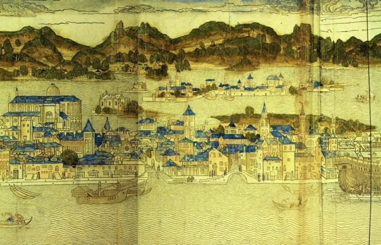 PARTICOLARE Veduta di Venezia realizzata da Erhard Reuwich, 1486 - Bonifica Gasometri Venezia - Copia