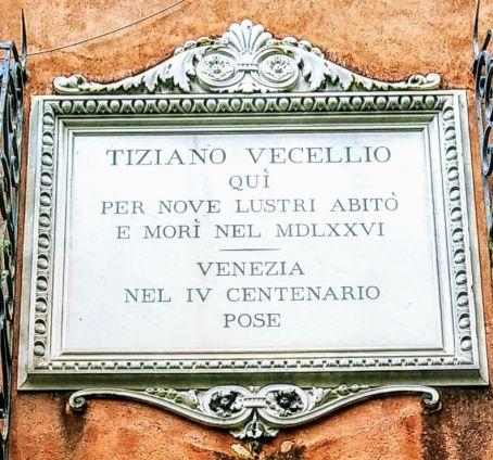 Venezia Casa Vecellio, targa ricordo - foto di Vittorio Baroni - Bonifica area Gasometri